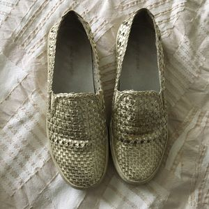 Marc fisher metallic woven slip on sneaker